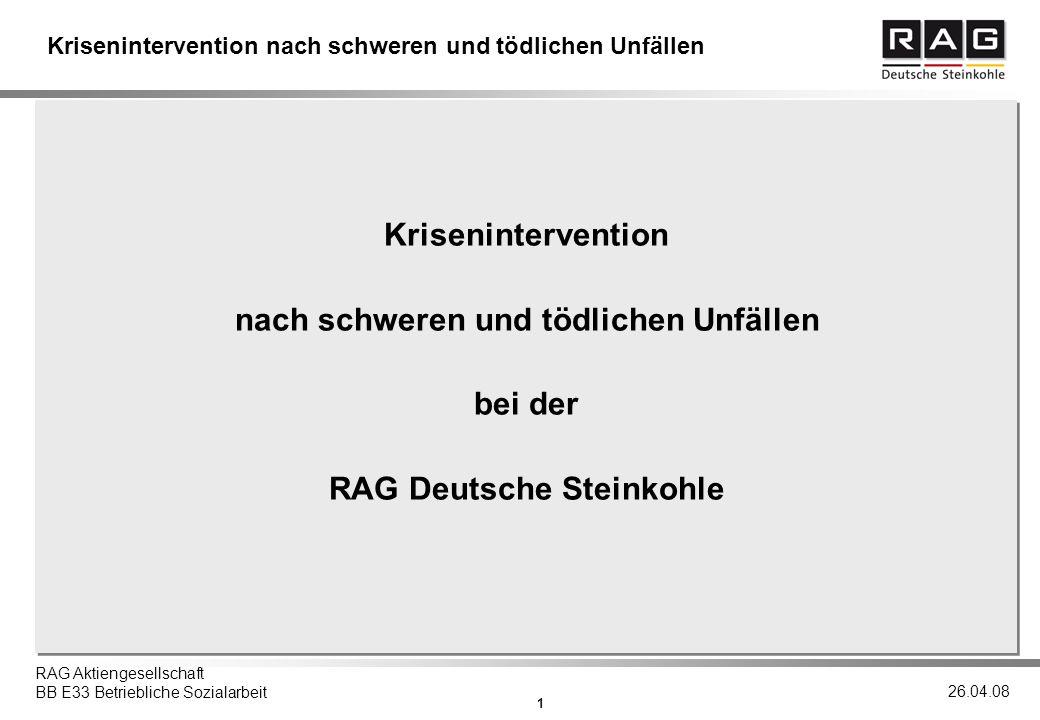 nach schweren und tödlichen Unfällen RAG Deutsche Steinkohle