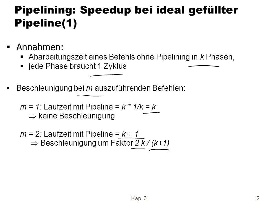 Pipelining: Speedup bei ideal gefüllter Pipeline(1)