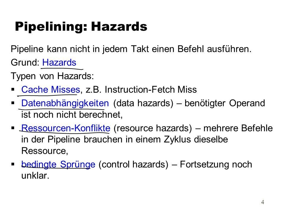 Pipelining: HazardsPipeline kann nicht in jedem Takt einen Befehl ausführen. Grund: Hazards. Typen von Hazards: