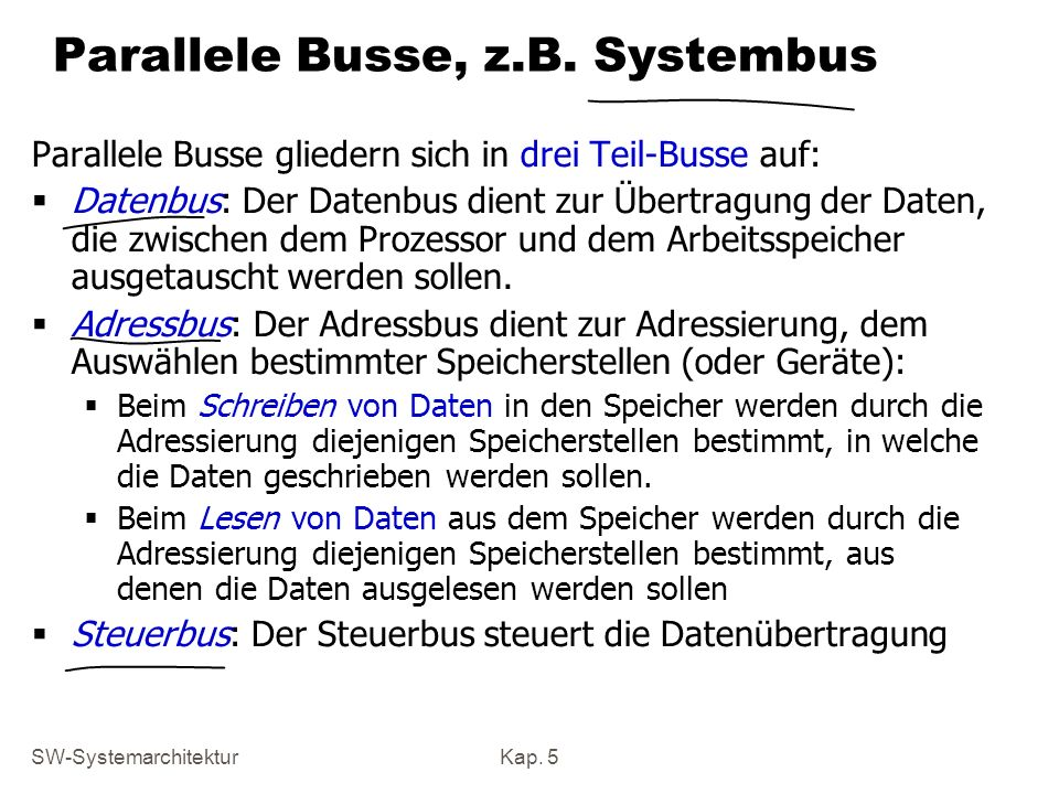 Parallele Busse, z.B. Systembus