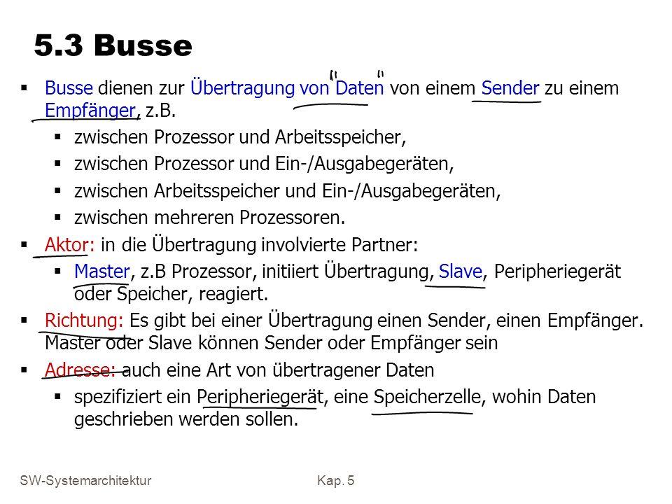 5.3 BusseBusse dienen zur Übertragung von Daten von einem Sender zu einem Empfänger, z.B. zwischen Prozessor und Arbeitsspeicher,
