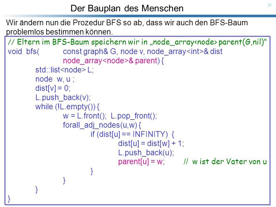 Wir ändern nun die Prozedur BFS so ab, dass wir auch den BFS-Baum
