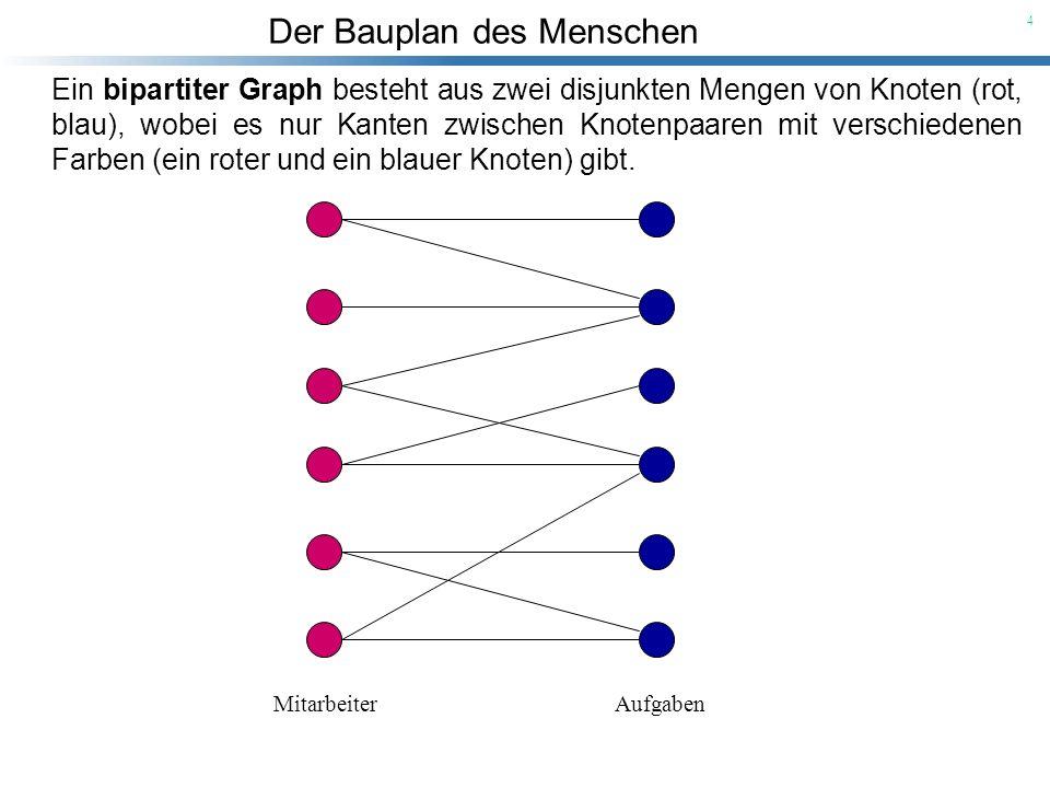 Ein bipartiter Graph besteht aus zwei disjunkten Mengen von Knoten (rot, blau), wobei es nur Kanten zwischen Knotenpaaren mit verschiedenen Farben (ein roter und ein blauer Knoten) gibt.