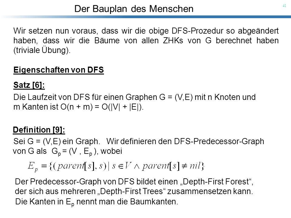 Wir setzen nun voraus, dass wir die obige DFS-Prozedur so abgeändert haben, dass wir die Bäume von allen ZHKs von G berechnet haben (triviale Übung).