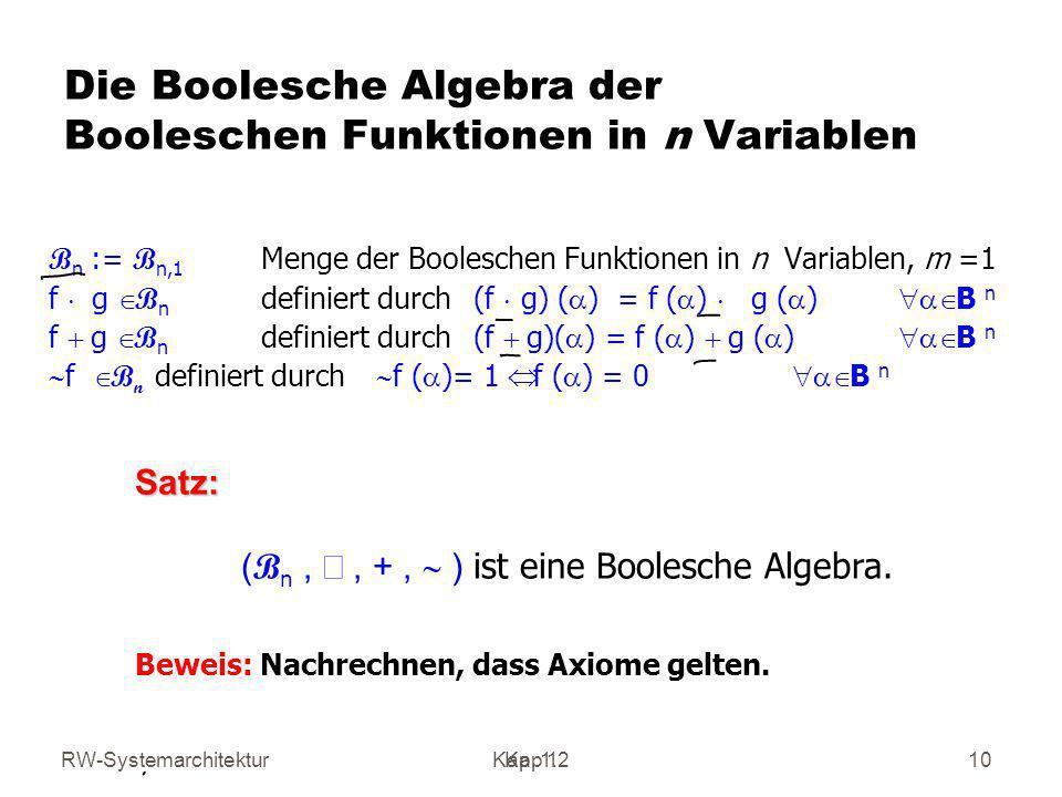 Die Boolesche Algebra der Booleschen Funktionen in n Variablen