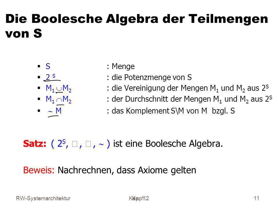 Die Boolesche Algebra der Teilmengen von S