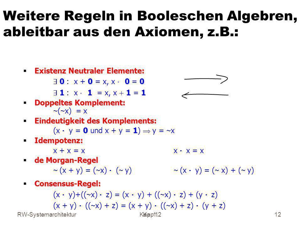 Weitere Regeln in Booleschen Algebren, ableitbar aus den Axiomen, z. B