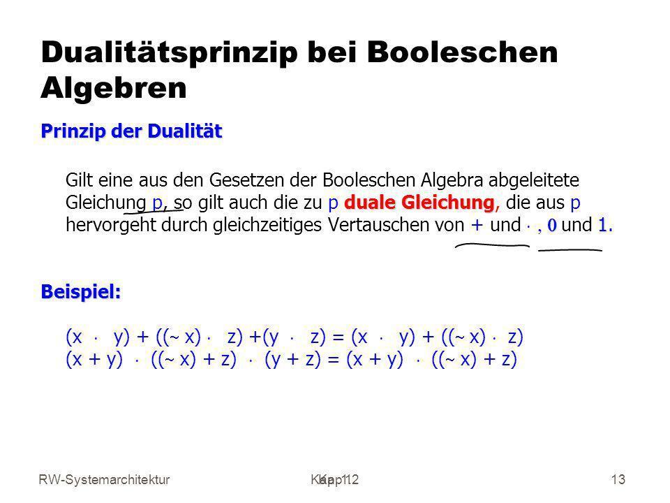 Dualitätsprinzip bei Booleschen Algebren