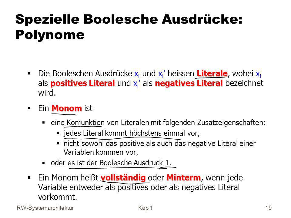 Spezielle Boolesche Ausdrücke: Polynome