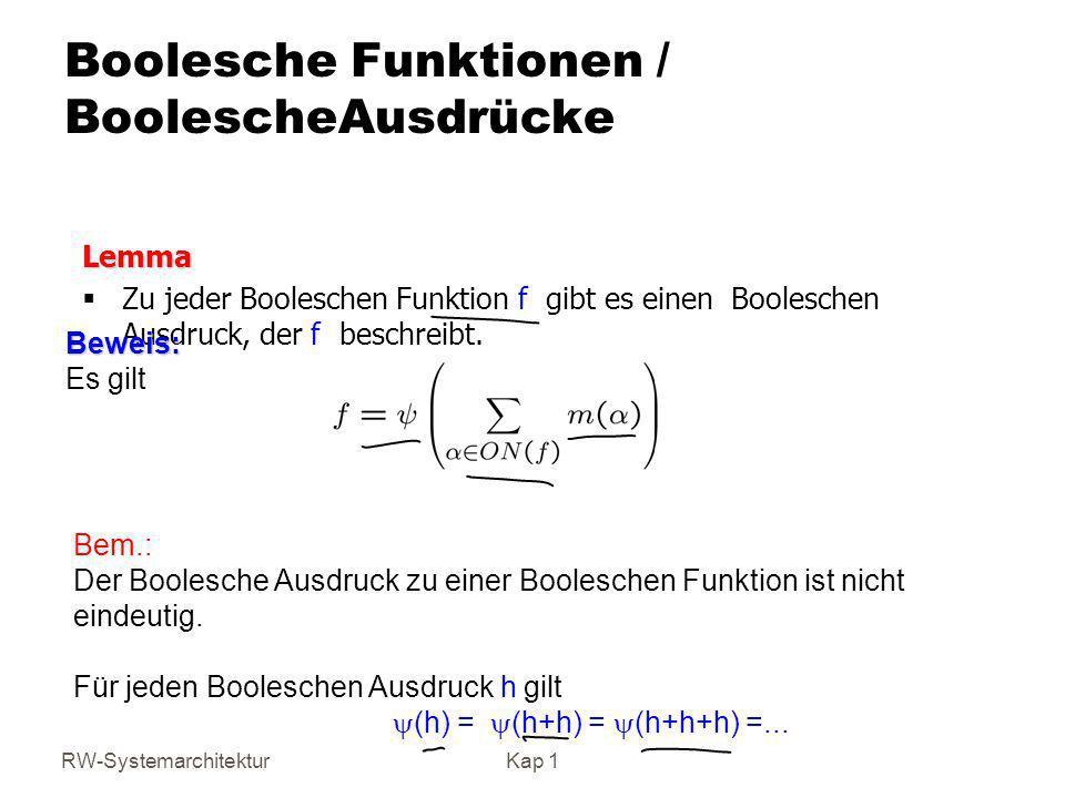 Boolesche Funktionen / BoolescheAusdrücke