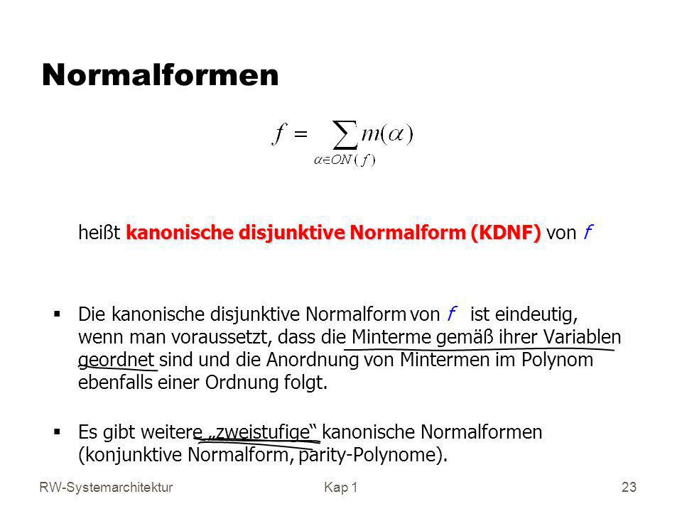 Normalformen heißt kanonische disjunktive Normalform (KDNF) von f