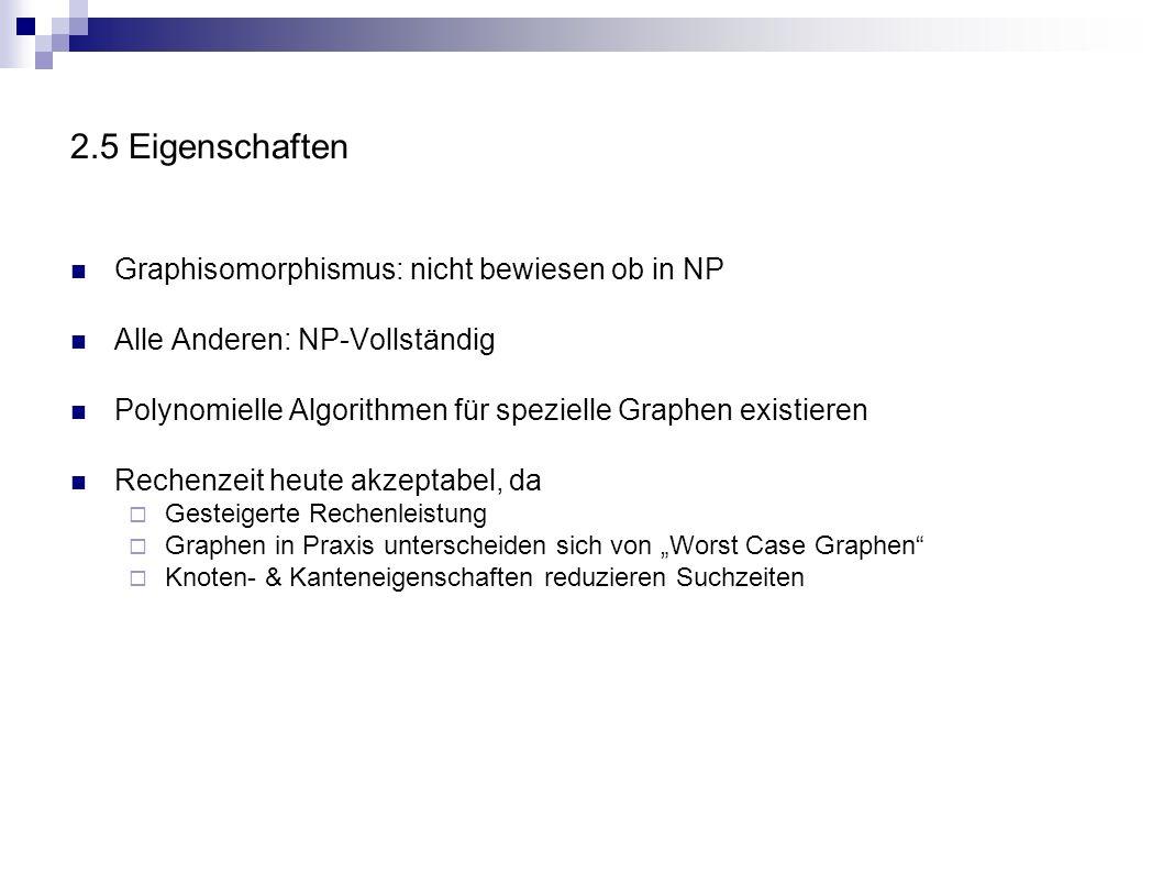 2.5 Eigenschaften Graphisomorphismus: nicht bewiesen ob in NP