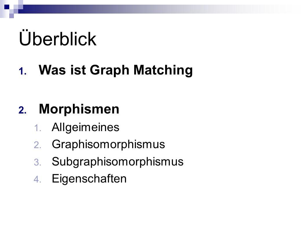 Überblick Was ist Graph Matching Morphismen Allgeimeines