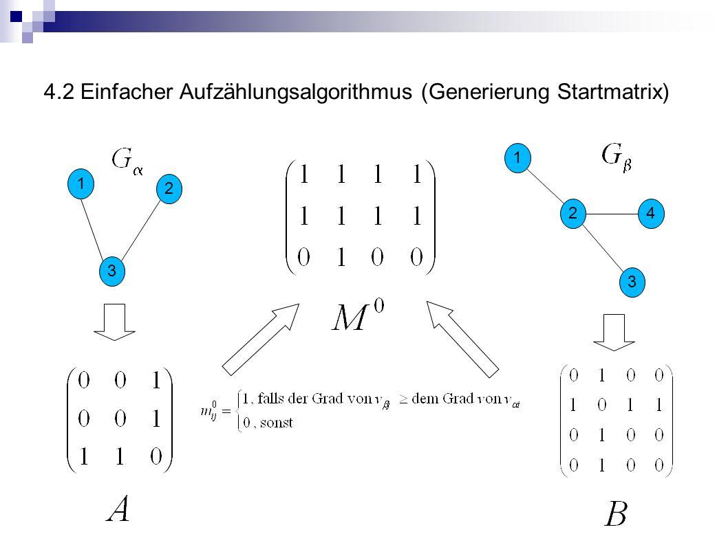 4.2 Einfacher Aufzählungsalgorithmus (Generierung Startmatrix)