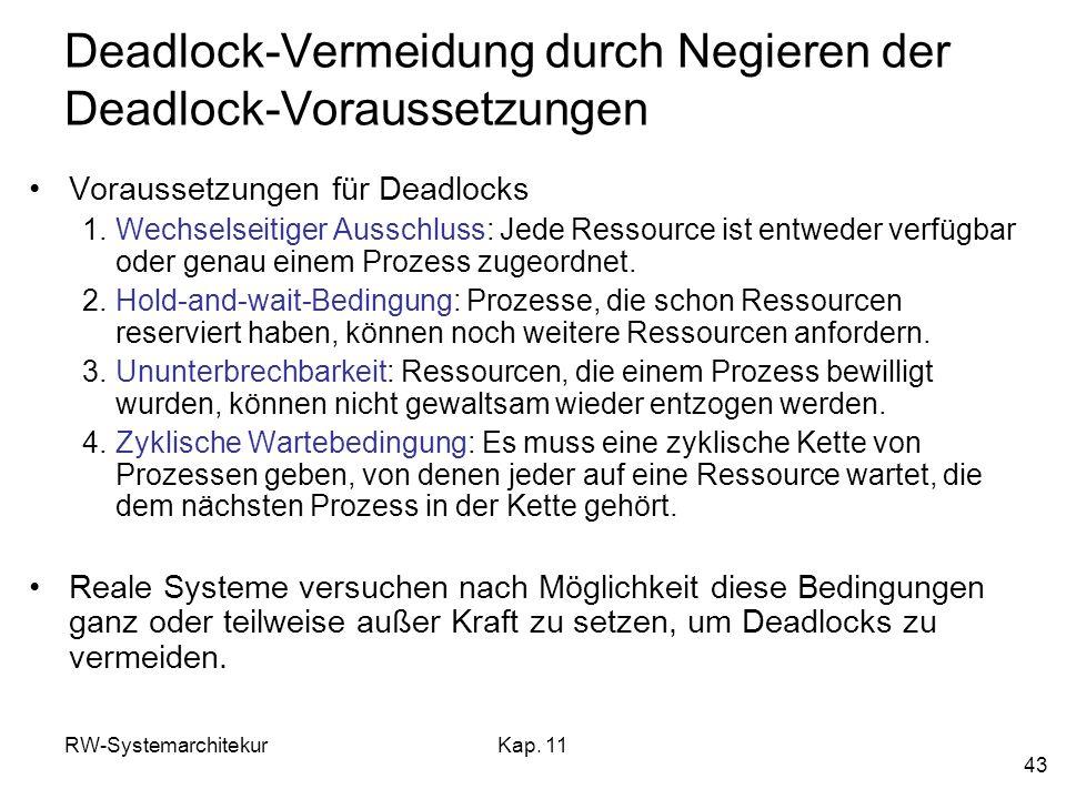 Deadlock-Vermeidung durch Negieren der Deadlock-Voraussetzungen