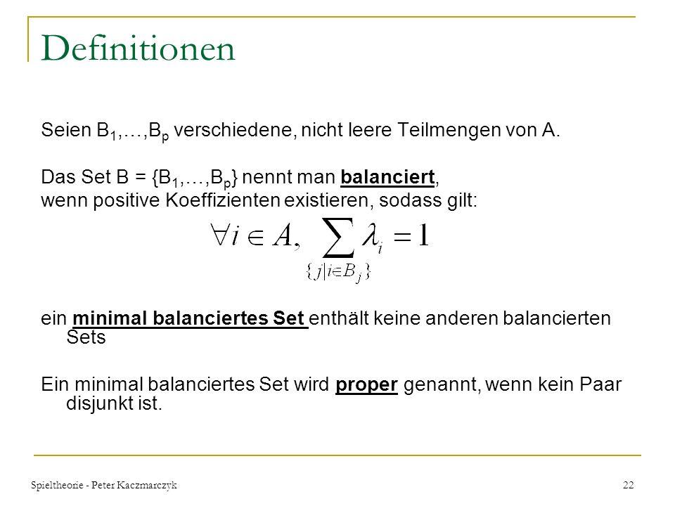 Definitionen Seien B1,…,Bp verschiedene, nicht leere Teilmengen von A.