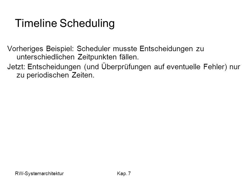Timeline Scheduling Vorheriges Beispiel: Scheduler musste Entscheidungen zu unterschiedlichen Zeitpunkten fällen.