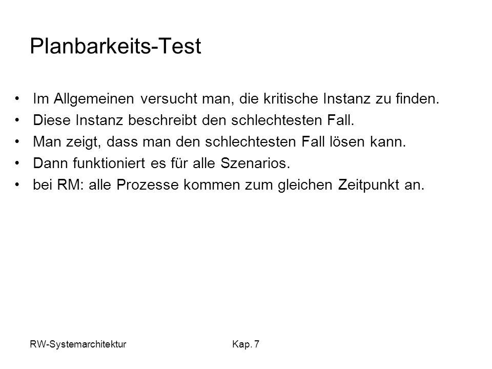 Planbarkeits-Test Im Allgemeinen versucht man, die kritische Instanz zu finden. Diese Instanz beschreibt den schlechtesten Fall.
