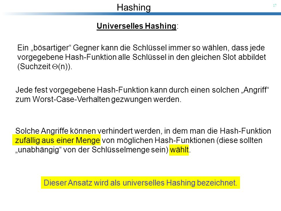 Universelles Hashing:
