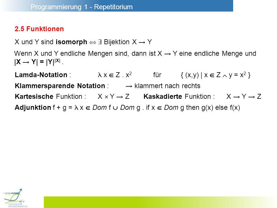 2.5 Funktionen X und Y sind isomorph   Bijektion X → Y. Wenn X und Y endliche Mengen sind, dann ist X → Y eine endliche Menge und.