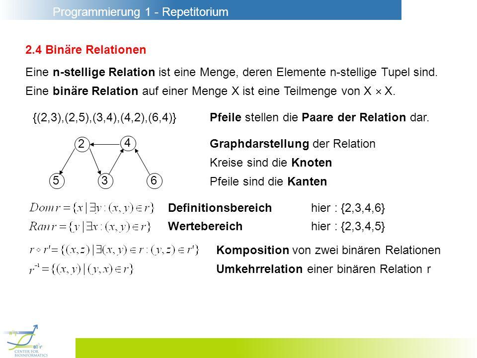 2.4 Binäre Relationen Eine n-stellige Relation ist eine Menge, deren Elemente n-stellige Tupel sind.