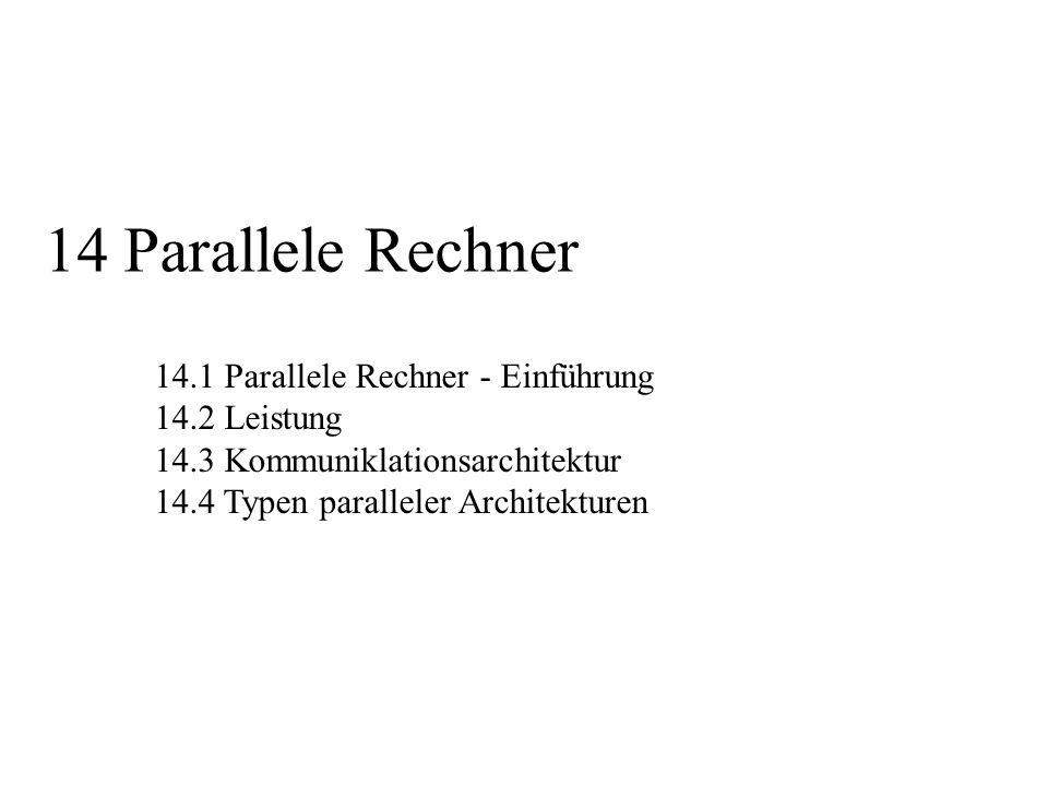 14 Parallele Rechner 14.1 Parallele Rechner - Einführung 14.2 Leistung
