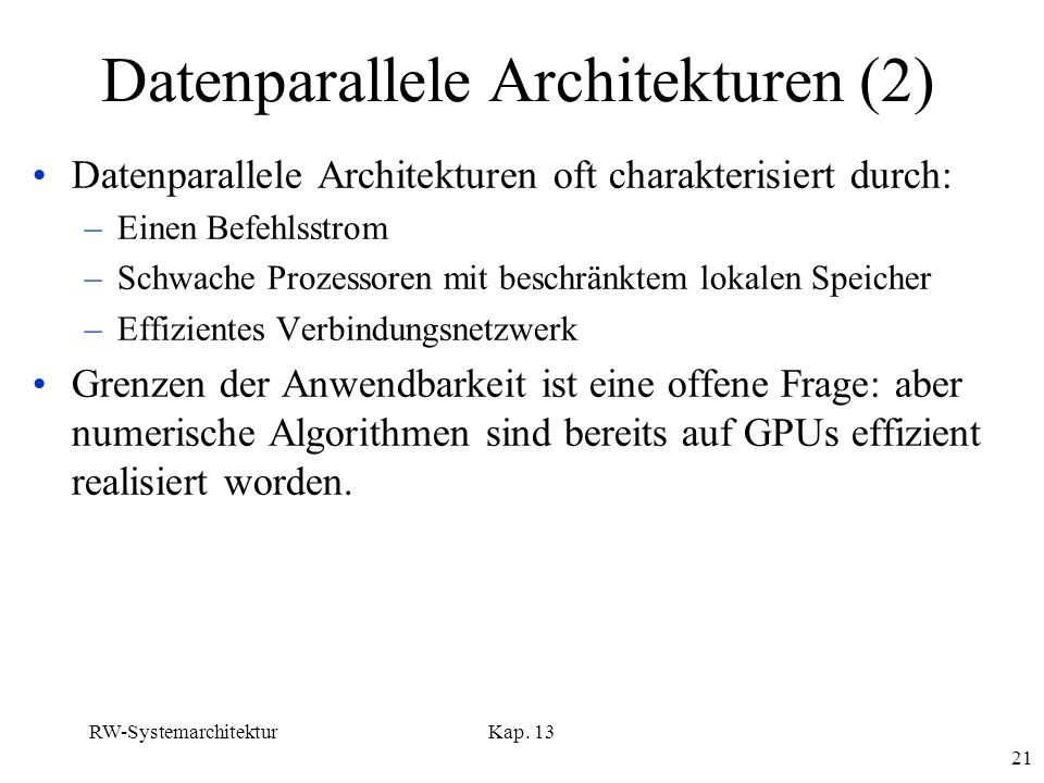 Datenparallele Architekturen (2)