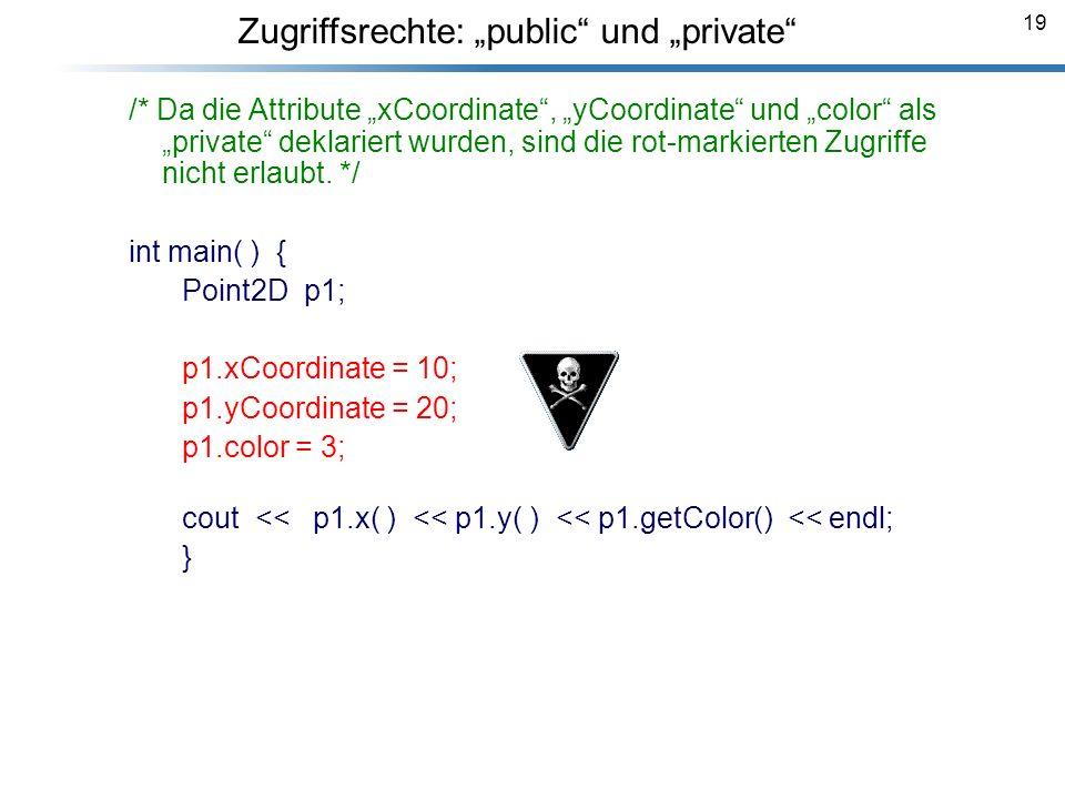 """Zugriffsrechte: """"public und """"private"""