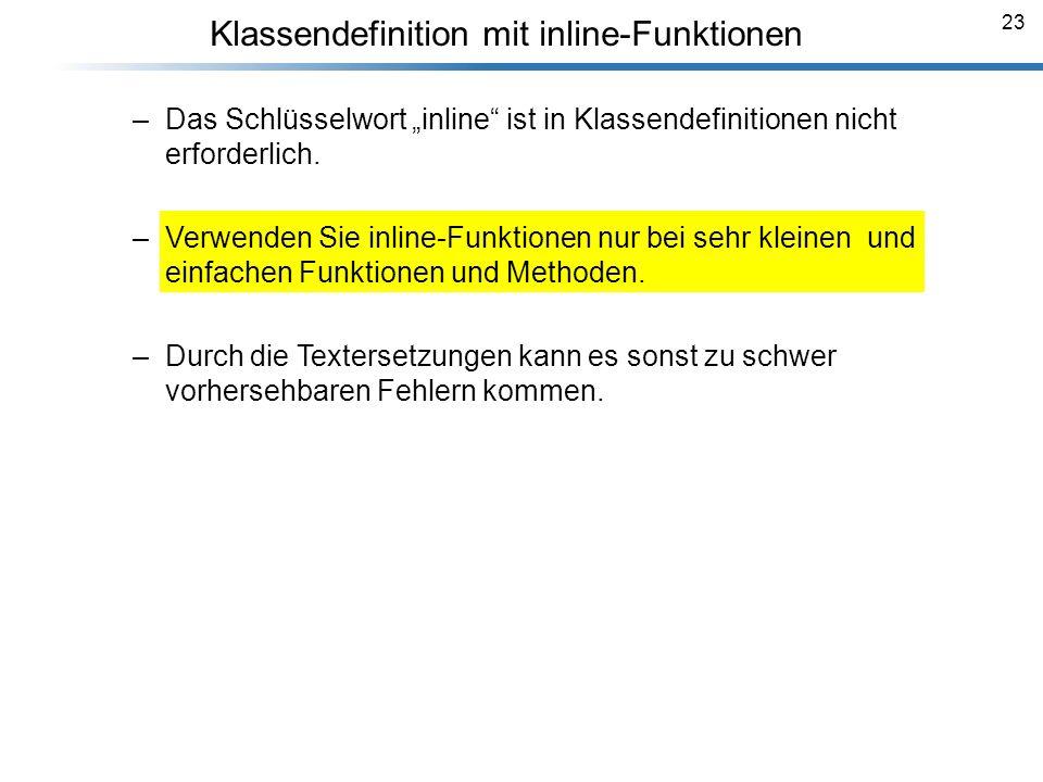Klassendefinition mit inline-Funktionen