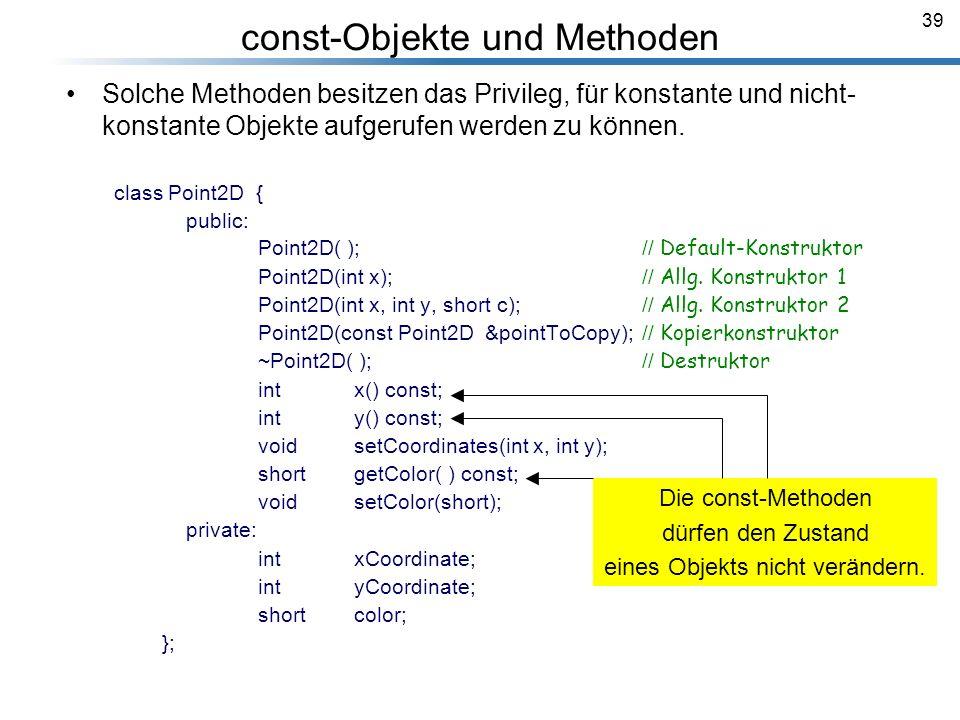 const-Objekte und Methoden