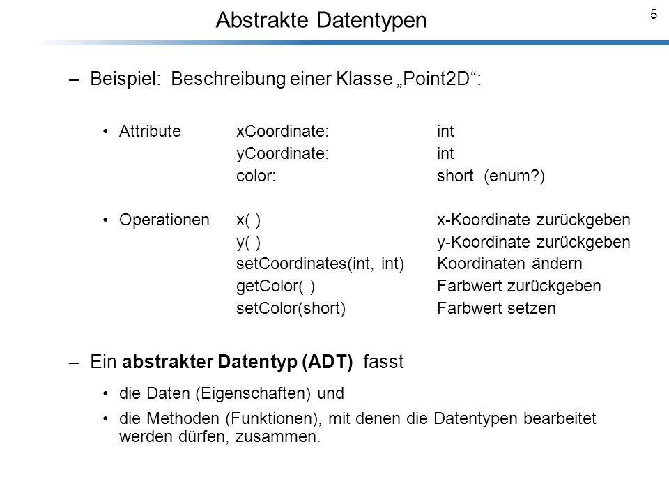 """Abstrakte Datentypen Beispiel: Beschreibung einer Klasse """"Point2D :"""