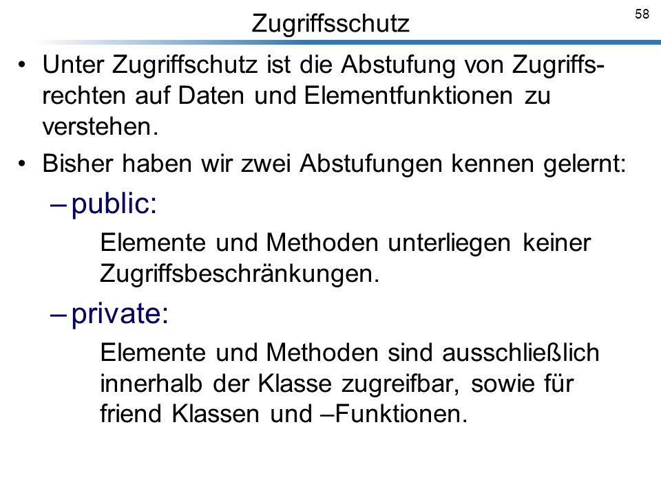 public: private: Zugriffsschutz