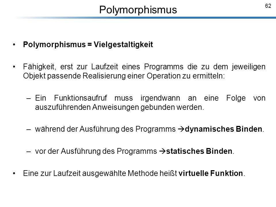 Polymorphismus Polymorphismus = Vielgestaltigkeit
