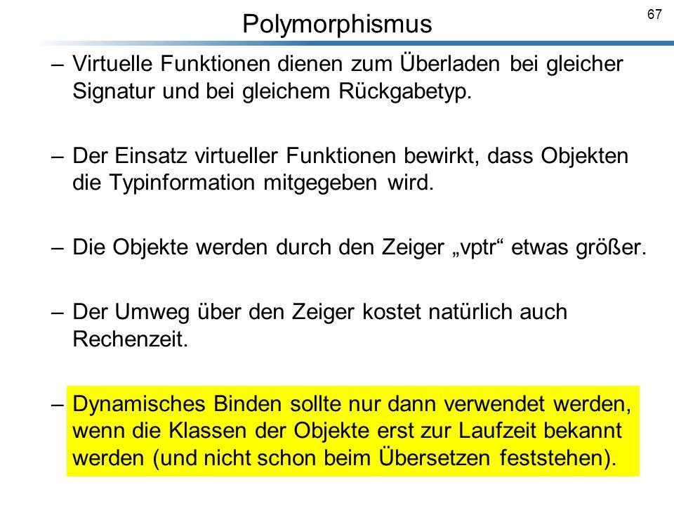 Polymorphismus Virtuelle Funktionen dienen zum Überladen bei gleicher Signatur und bei gleichem Rückgabetyp.