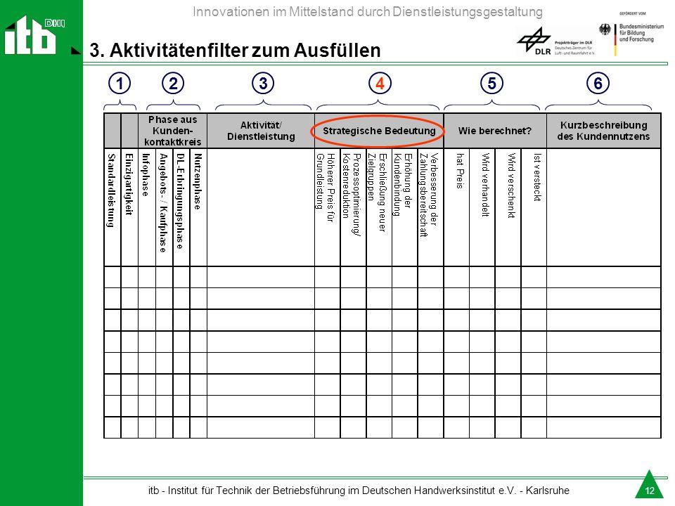 3. Aktivitätenfilter zum Ausfüllen