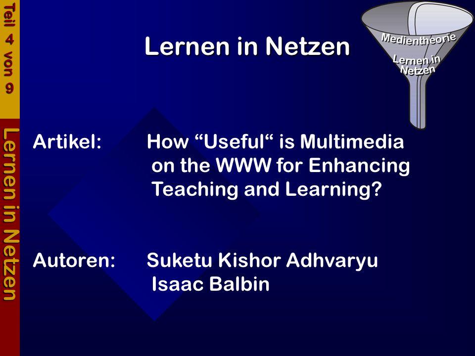 Lernen in Netzen Lernen in Netzen