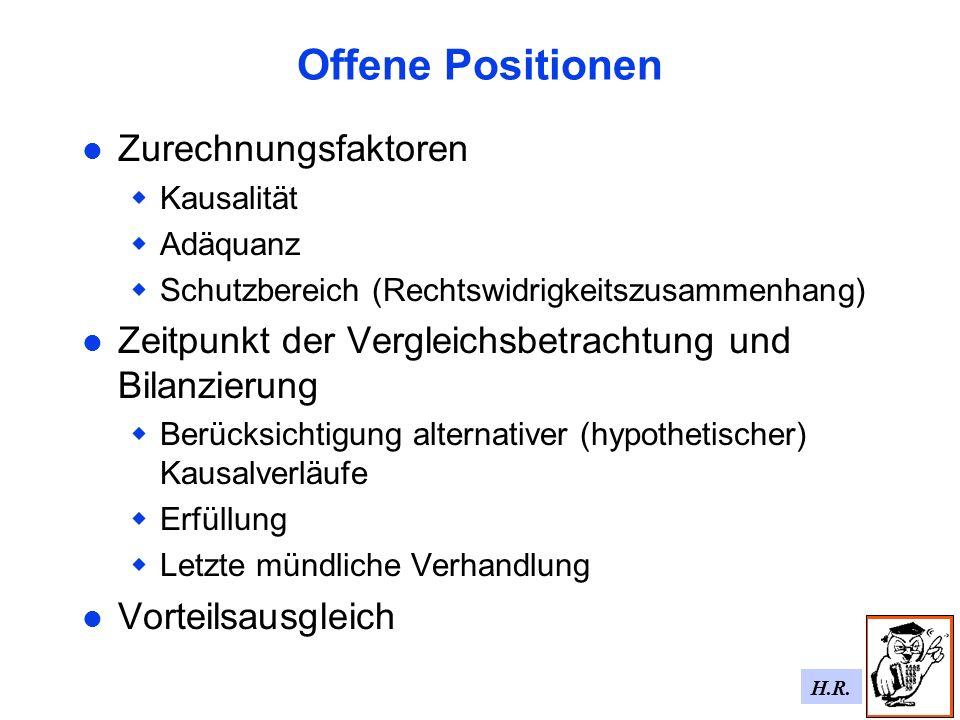 Offene Positionen Zurechnungsfaktoren