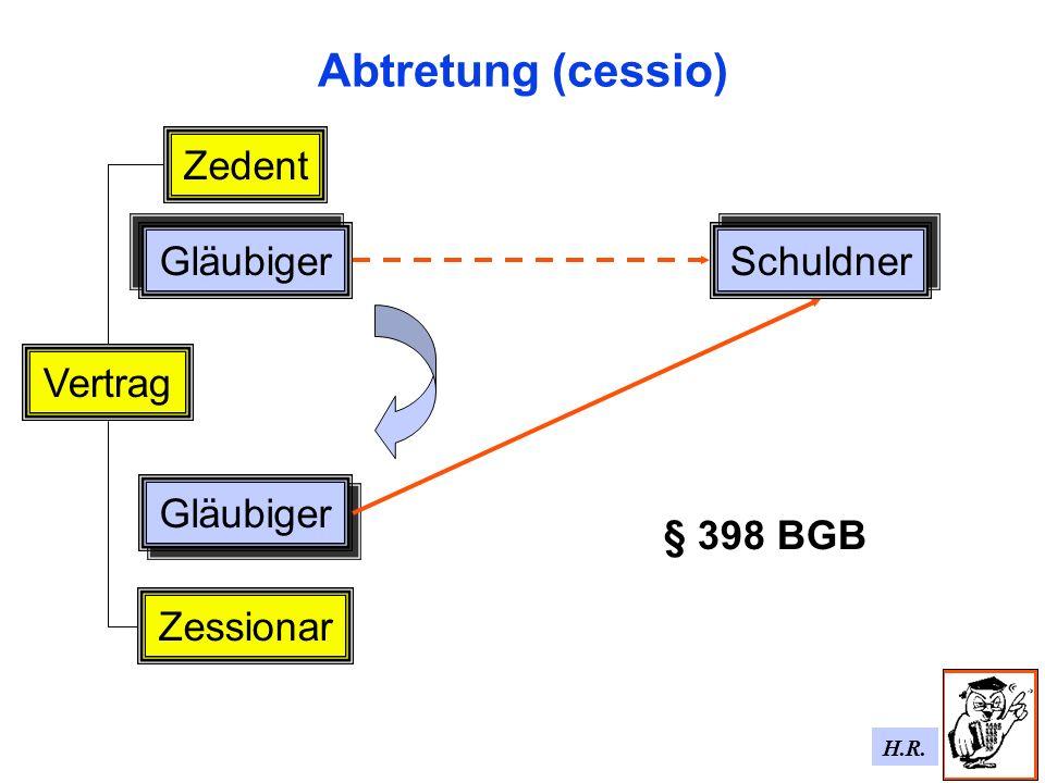 Abtretung (cessio) Zedent Gläubiger Schuldner Vertrag Gläubiger