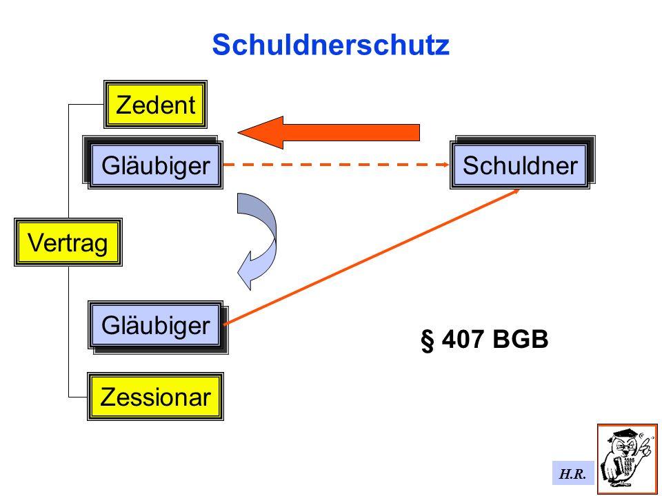 Schuldnerschutz Zedent Gläubiger Schuldner Vertrag Gläubiger § 407 BGB