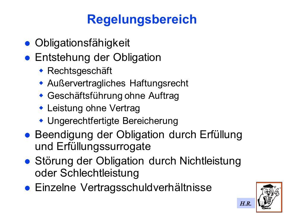 Regelungsbereich Obligationsfähigkeit Entstehung der Obligation