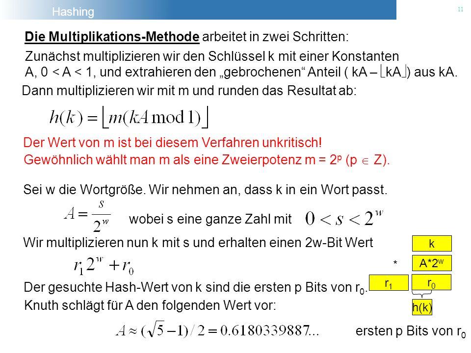Die Multiplikations-Methode arbeitet in zwei Schritten: