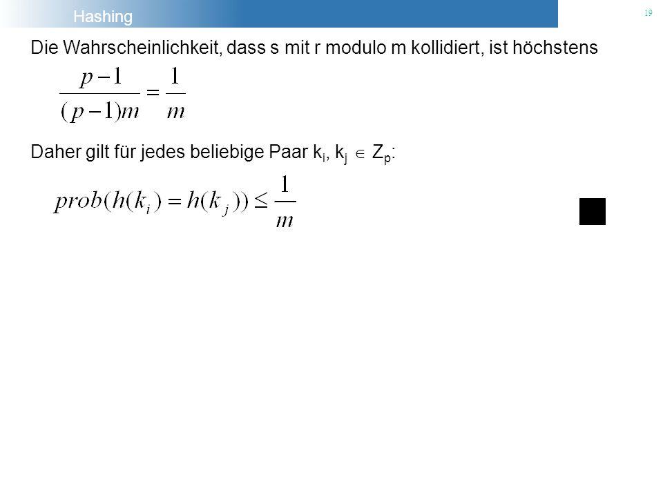 Die Wahrscheinlichkeit, dass s mit r modulo m kollidiert, ist höchstens