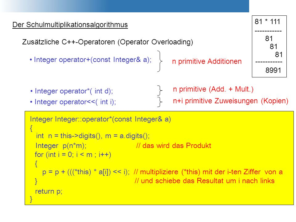 81 * 111----------- Der Schulmultiplikationsalgorithmus. 81. Zusätzliche C++-Operatoren (Operator Overloading)