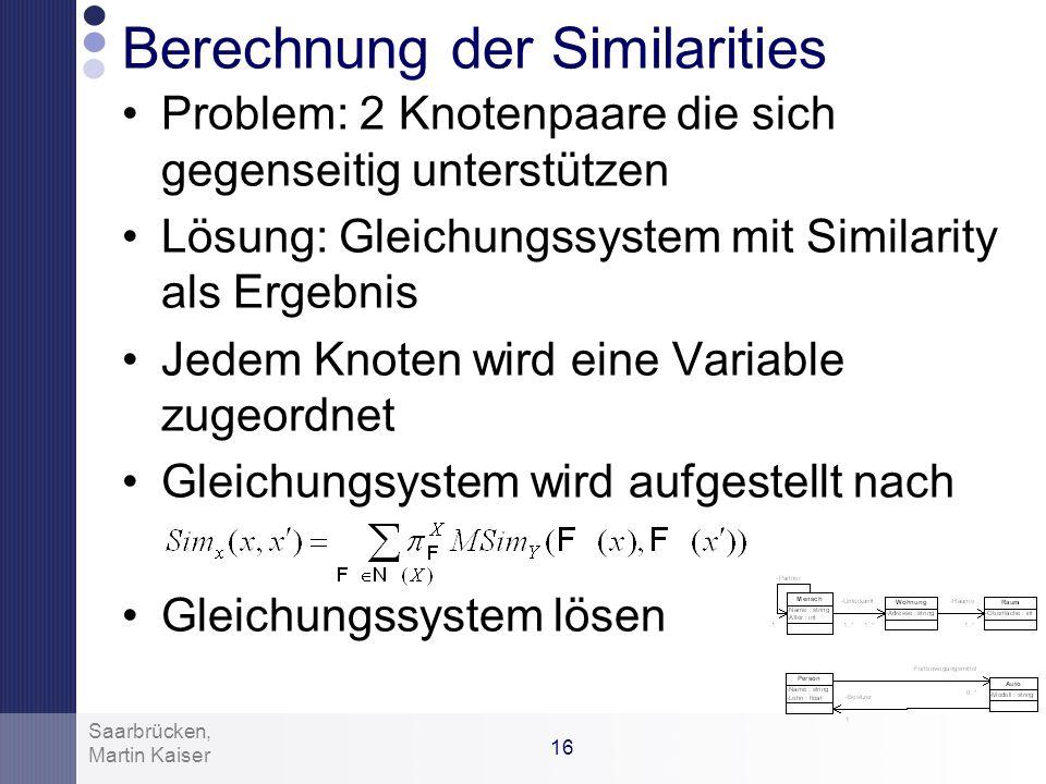 Berechnung der Similarities