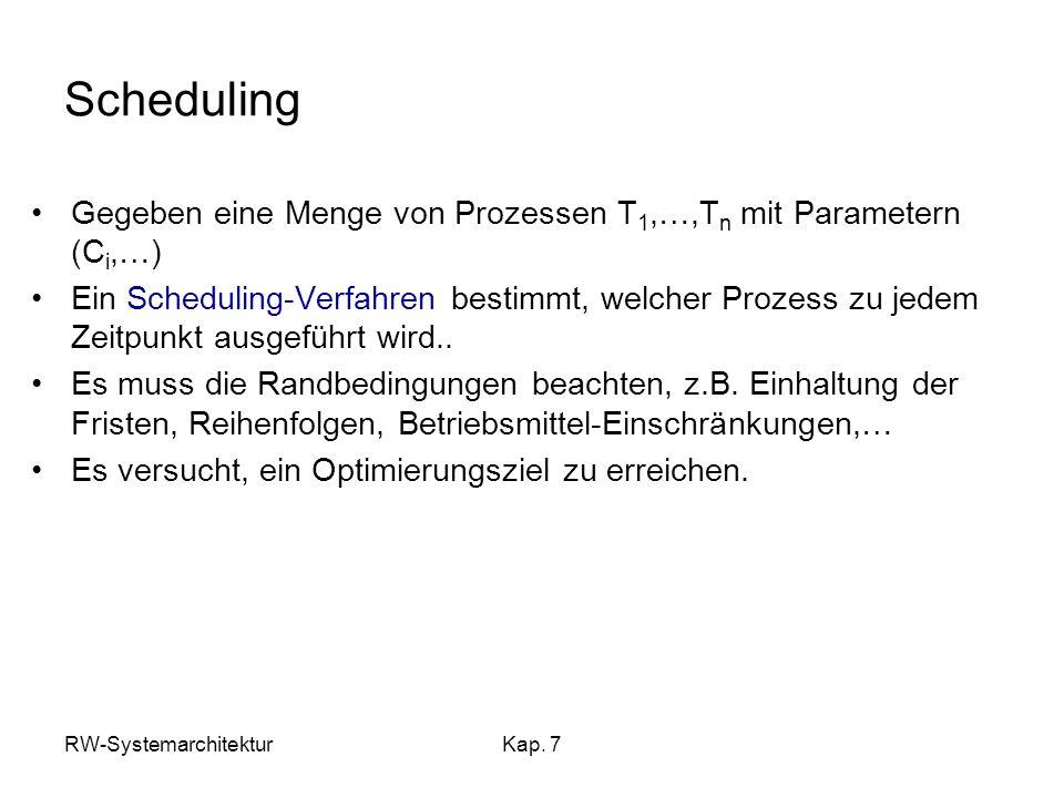 Scheduling Gegeben eine Menge von Prozessen T1,…,Tn mit Parametern (Ci,…)