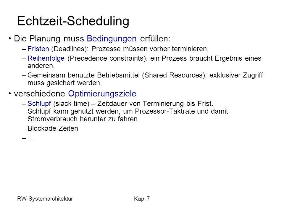 Echtzeit-Scheduling Die Planung muss Bedingungen erfüllen: