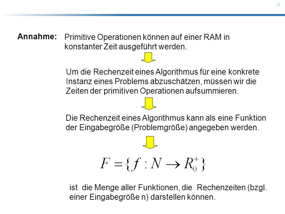 Annahme: Primitive Operationen können auf einer RAM in. konstanter Zeit ausgeführt werden.