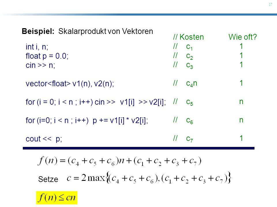 Beispiel: Skalarprodukt von Vektoren
