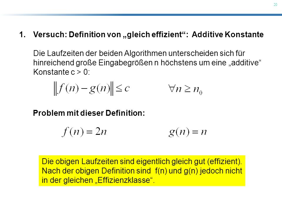 """Versuch: Definition von """"gleich effizient : Additive Konstante"""