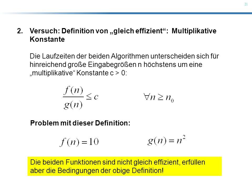"""Versuch: Definition von """"gleich effizient : Multiplikative Konstante"""